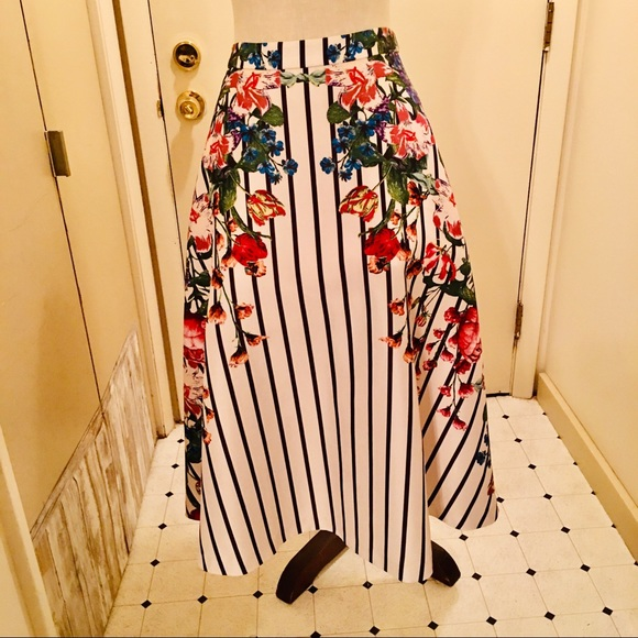 Anthropologie Maeve Floral Garden Striped Skirt XS